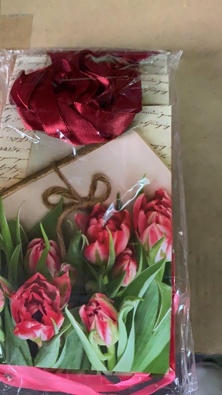 Подарочный бумажный пакет МИНИ 8*12*3.5 см Цветы в траве