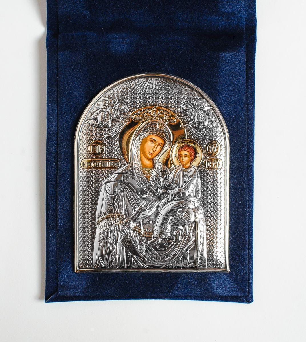 Икона-складень Богородица Скоропослушница 7,2х9,3см в бархатной основе