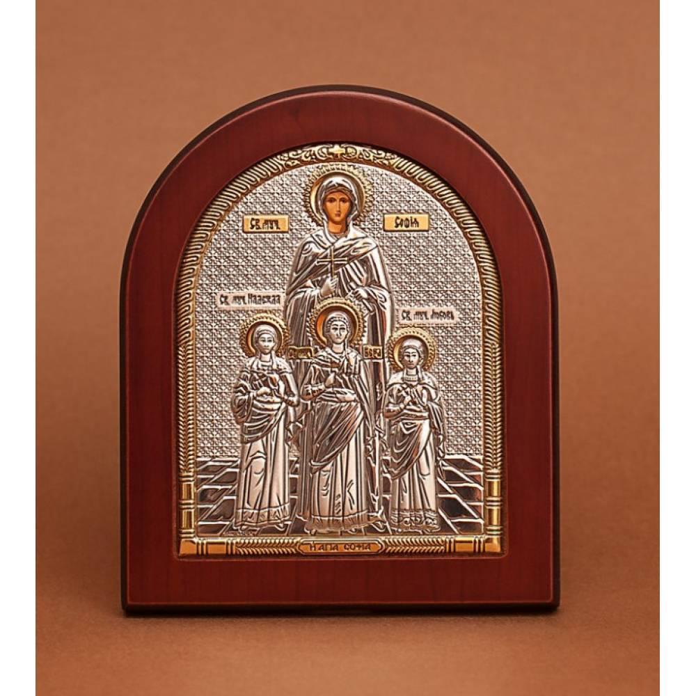 Серебряная Икона Вера,Надежда,Любовь и их мать Св.София 11х13см (Греция)
