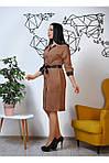 Женское платье цвет коричневый материал замш на пуговицах, фото 4
