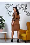Женское платье цвет коричневый материал замш на пуговицах, фото 3