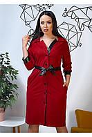 Праздничное бордовое платье из замши с кожаными вставками