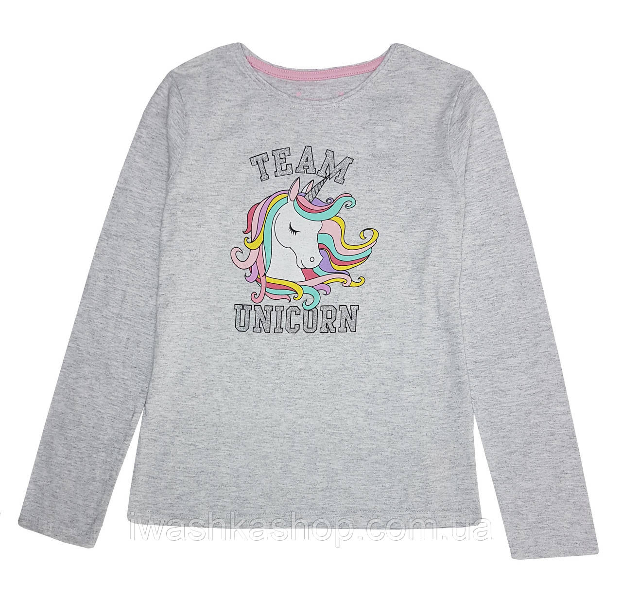 Модный серый лонгслив с единорогом для девочки 9 - 10 лет, р. 140, Primark