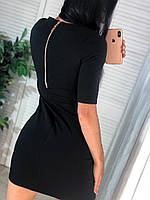 Чёрное мини платье со змейкой на спинке, фото 1