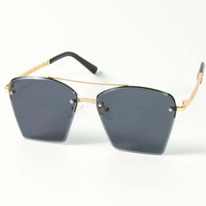 Оптом женские солнцезащитные квадратные очки  (арт. 3-2511/1) черные, фото 2