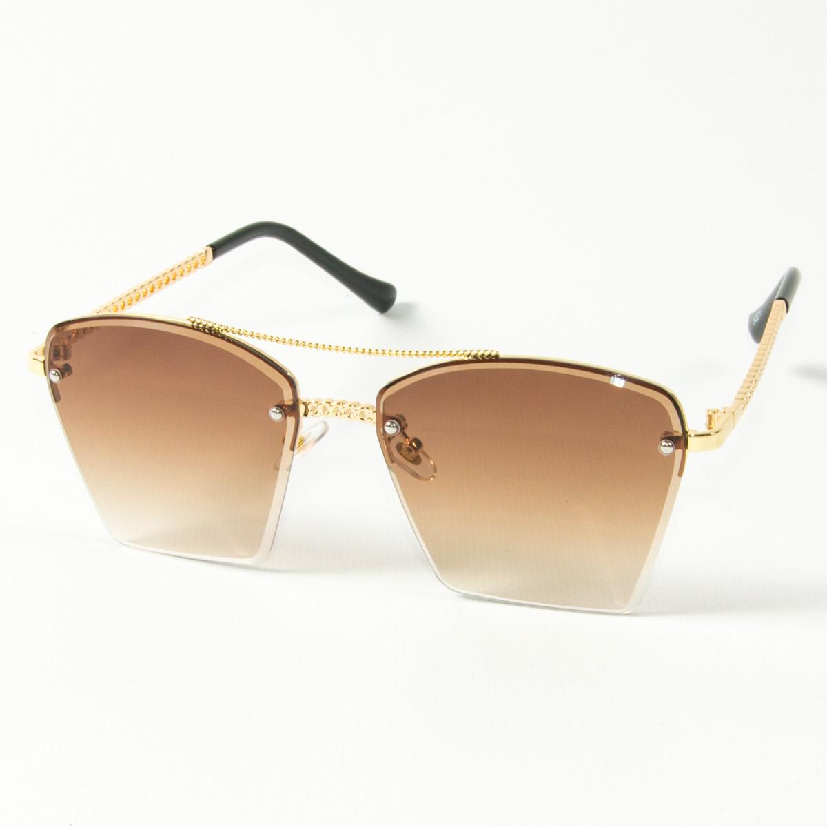 Оптом женские солнцезащитные квадратные очки  (арт. 3-2511/2) коричневые