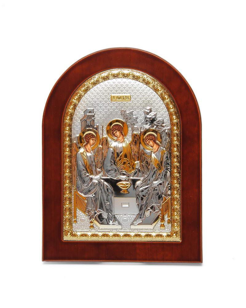 Икона Святая Троица 15х19см в серебряном окладе с позолотой (Греция)