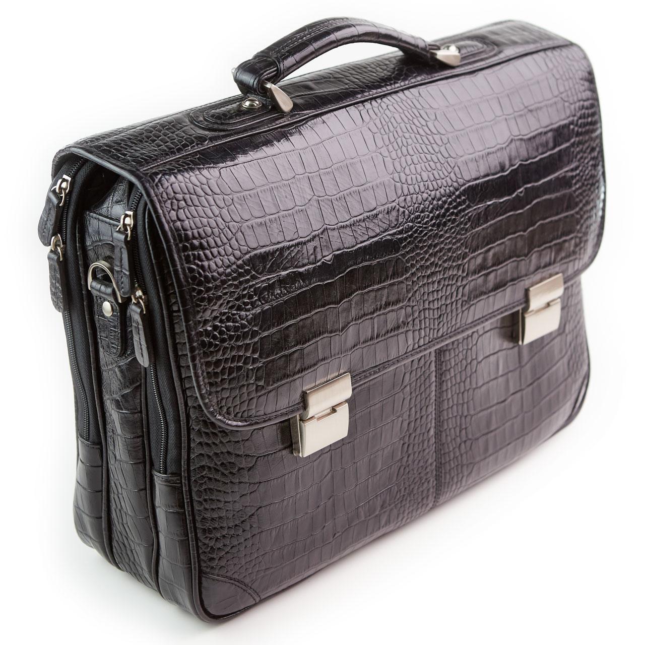 Великий чоловічий портфель Eminsa шкіряний чорний 7027-4-1