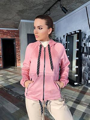 Женская розовая худи с капюшоном