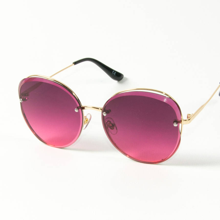 Оптом женские солнцезащитные круглые очки  (арт. 3-2048/2) розовые, фото 2