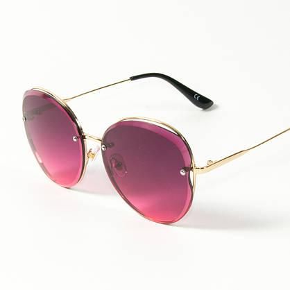 Оптом женские солнцезащитные круглые очки  (арт. 3-2048/2) розовые, фото 3