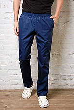 Медицинские брюки для мужчин. Коттон. Темно-синий, фото 2