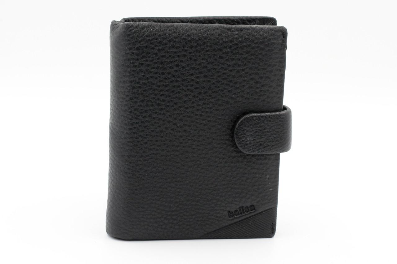 Солидное портмоне из натуральной кожи черного цвета (21031)