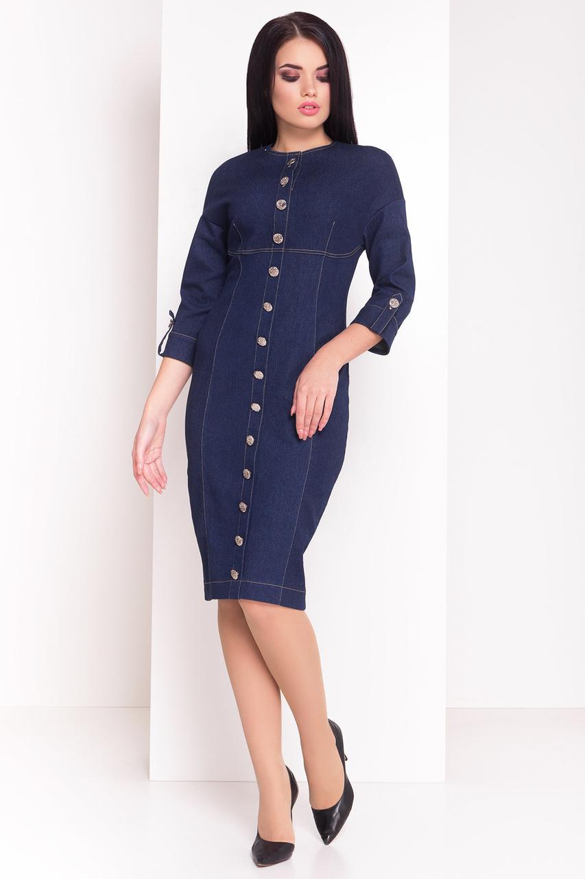 Джинсовое мини-платье футляр