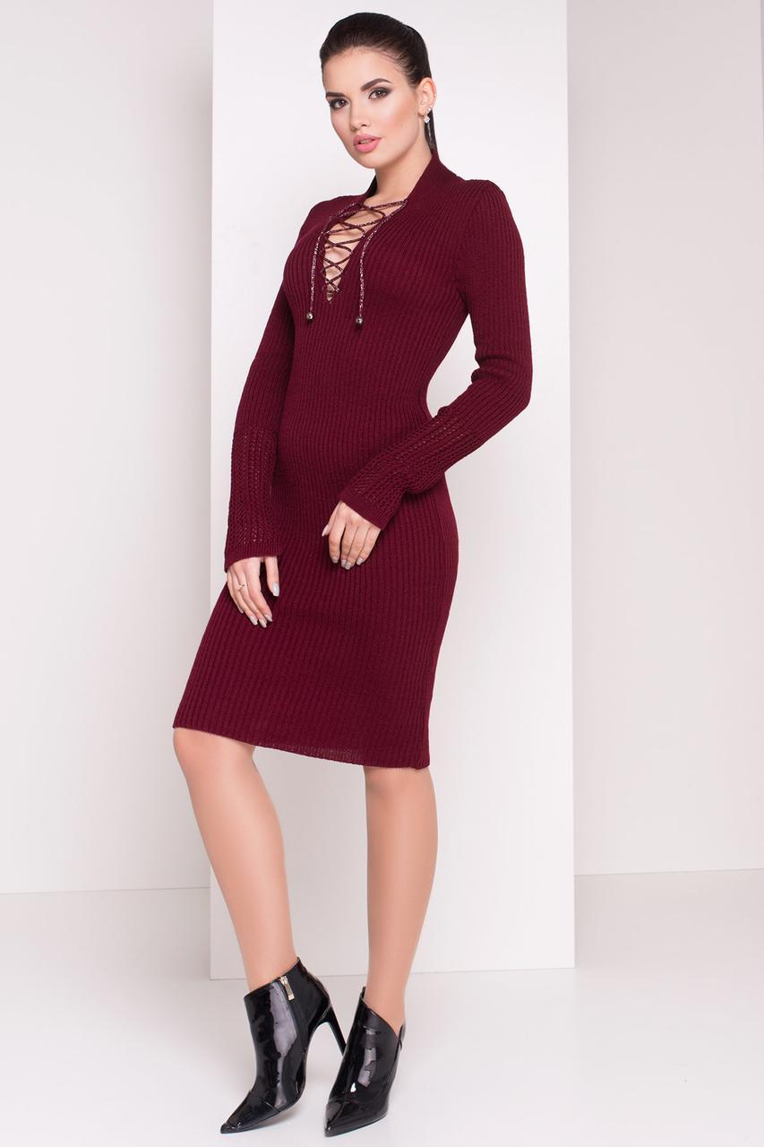 Платье вязаное со шнуровкой Рианна