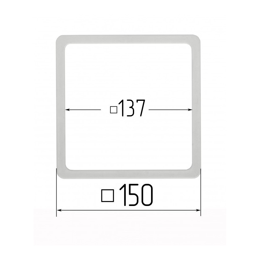 Термоквадрат для натяжных потолков 137х137мм (внутренний размер) 150х150 мм (наружный размер)