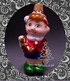 Стеклянная елочная игрушка Буратино 96/м