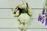Брелок пушистый Кролик с бантом бежевый, 27 см