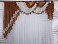 Ламбрекен ширина 2м. №27, цвет коричневый с бежевым, фото 1