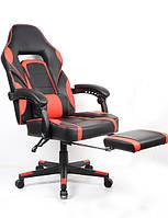Крісло геймерське Parker з підставкою для ніг червоно-чорне Goodwin