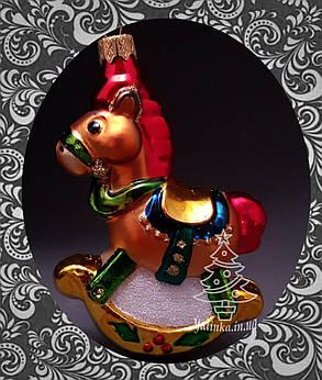 Стеклянная елочная игрушка Лошадка-качалка 349/с, фото 2