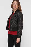 Черная женская короткая куртка-бомбер