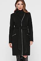 Чорне пальто жіноче на блискавці, фото 1