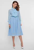Нарядное голубое платье миди, фото 1