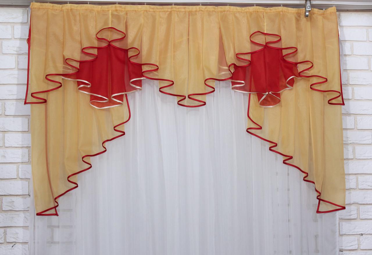 Ламбрекен на карниз 1.5м.модель №93. Цвет янтарный с  красним