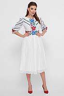 Белове шифоновое платье под вышиванку
