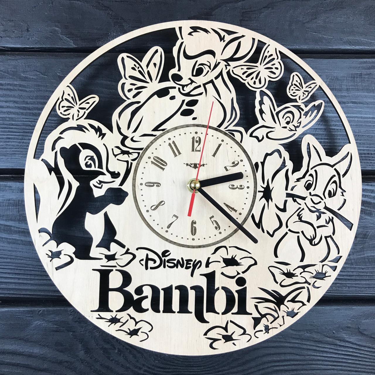 Детские настенные часы из дерева «Бэмби»