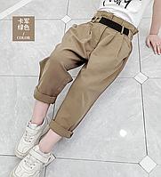 Стильні штани для дівчинки / Детские штаны для девочек, модные мешковатые брюки цвета хаки с эластичной резинк