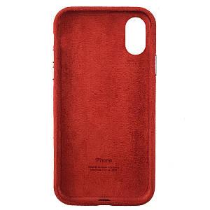 Чехол накладка для iPhone XS Max Alcantara Full red