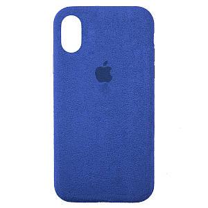 Чехол накладка для iPhone XS Max Alcantara Full blue