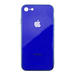 Чехол накладка xCase на iPhone 7/8 Glass Case Logo Metallic blue