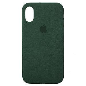 Чехол накладка для iPhone XS Max Alcantara Full forest green