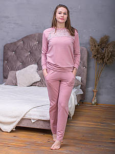 Жіночий домашній костюм Serenade рожевий з мереживом