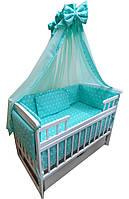 """Акция! Набор постельного в детскую кроватку 8 элементов """"Бирюзовый звезды"""""""