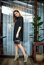 Черное замшевое платье женское рубашечный воротник
