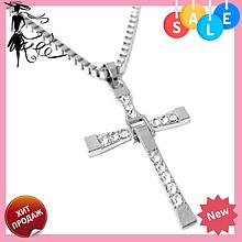 Крестик крест Вин Дизеля Доминика Торетто с цепочкой серебро