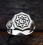 Перстень мужской серебряный Полумесяц и Всевышний Аллах  30380, фото 2