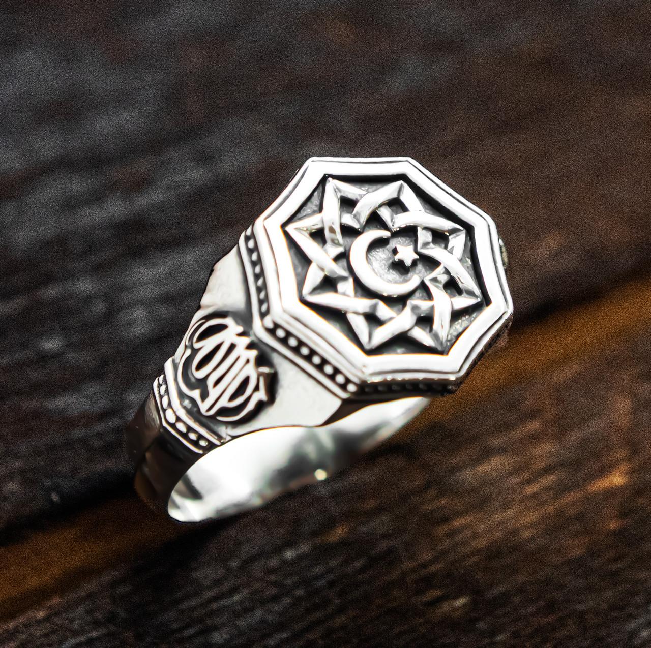 Перстень мужской серебряный Полумесяц и Всевышний Аллах  30380