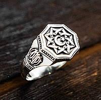 Перстень мужской серебряный Полумесяц и Всевышний Аллах  30380, фото 1