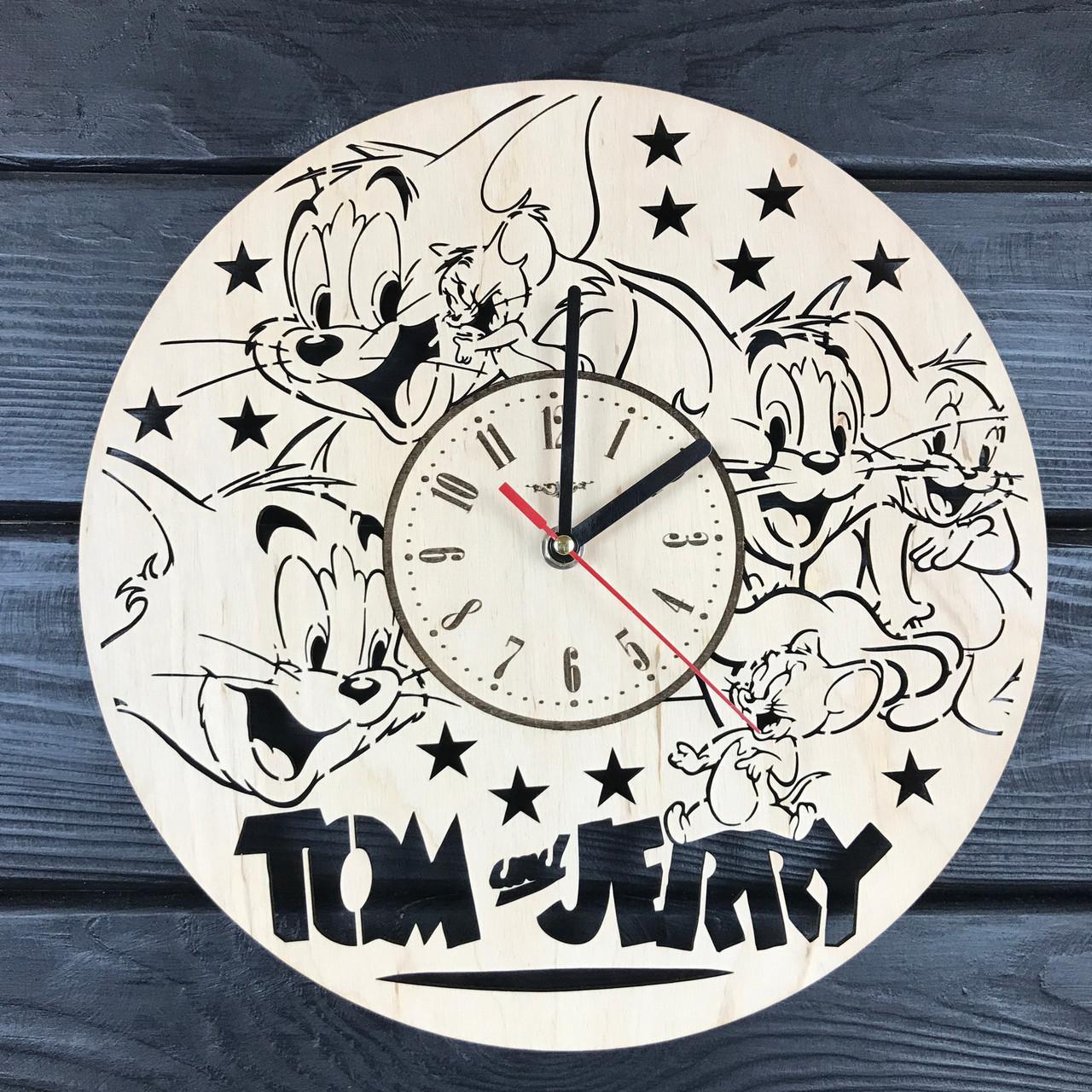 Детские декоративные часы из дерева «Том и Джерри»