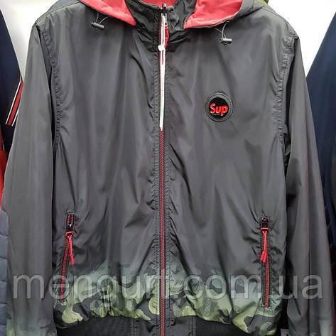 Демисезонная спортивная куртка мужская двухсторонняя со съемным капюшоном Польша, фото 2