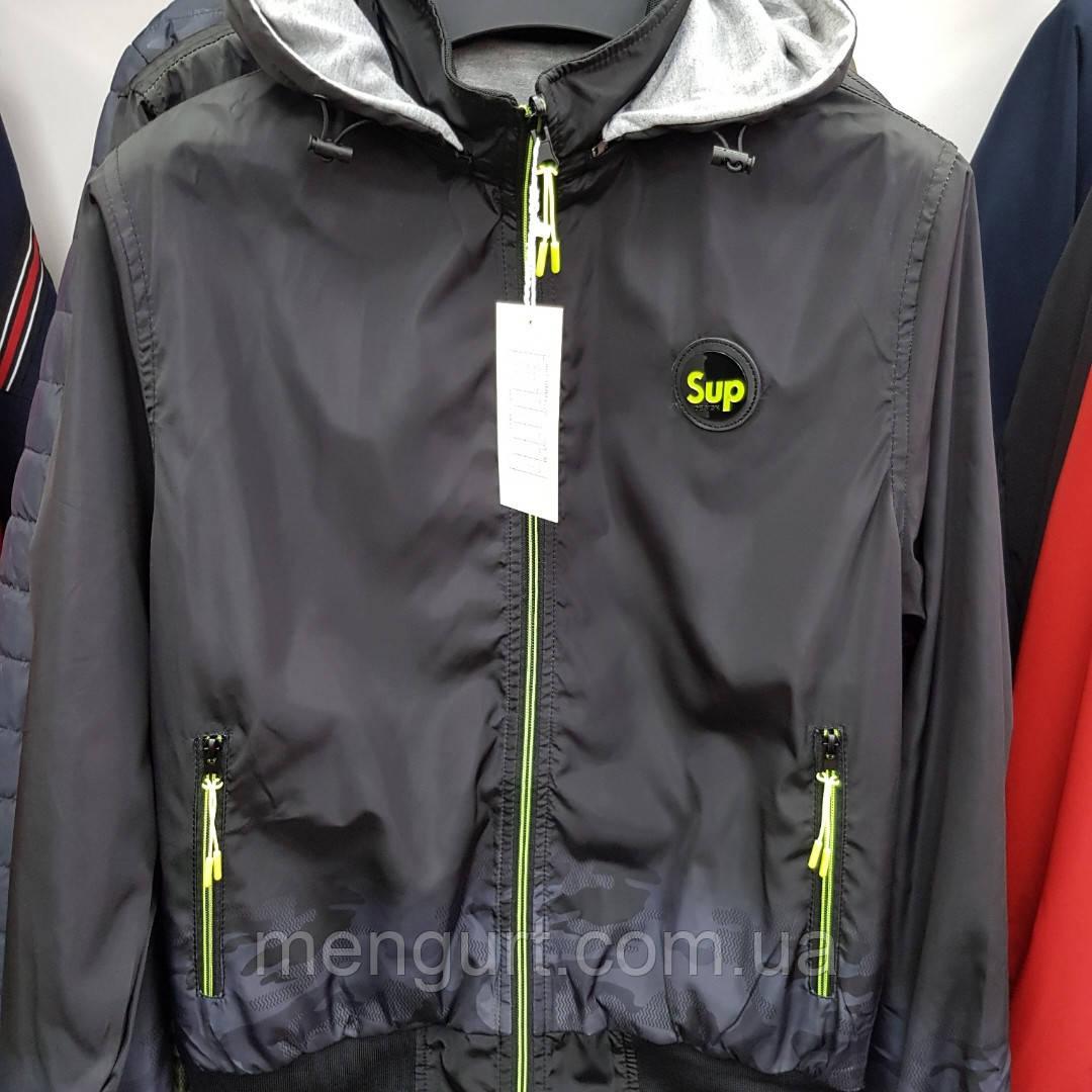 Демисезонная спортивная куртка мужская двухсторонняя со съемным капюшоном Польша