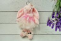 Брелок пушистый Кролик с бантом розовый, 27 см