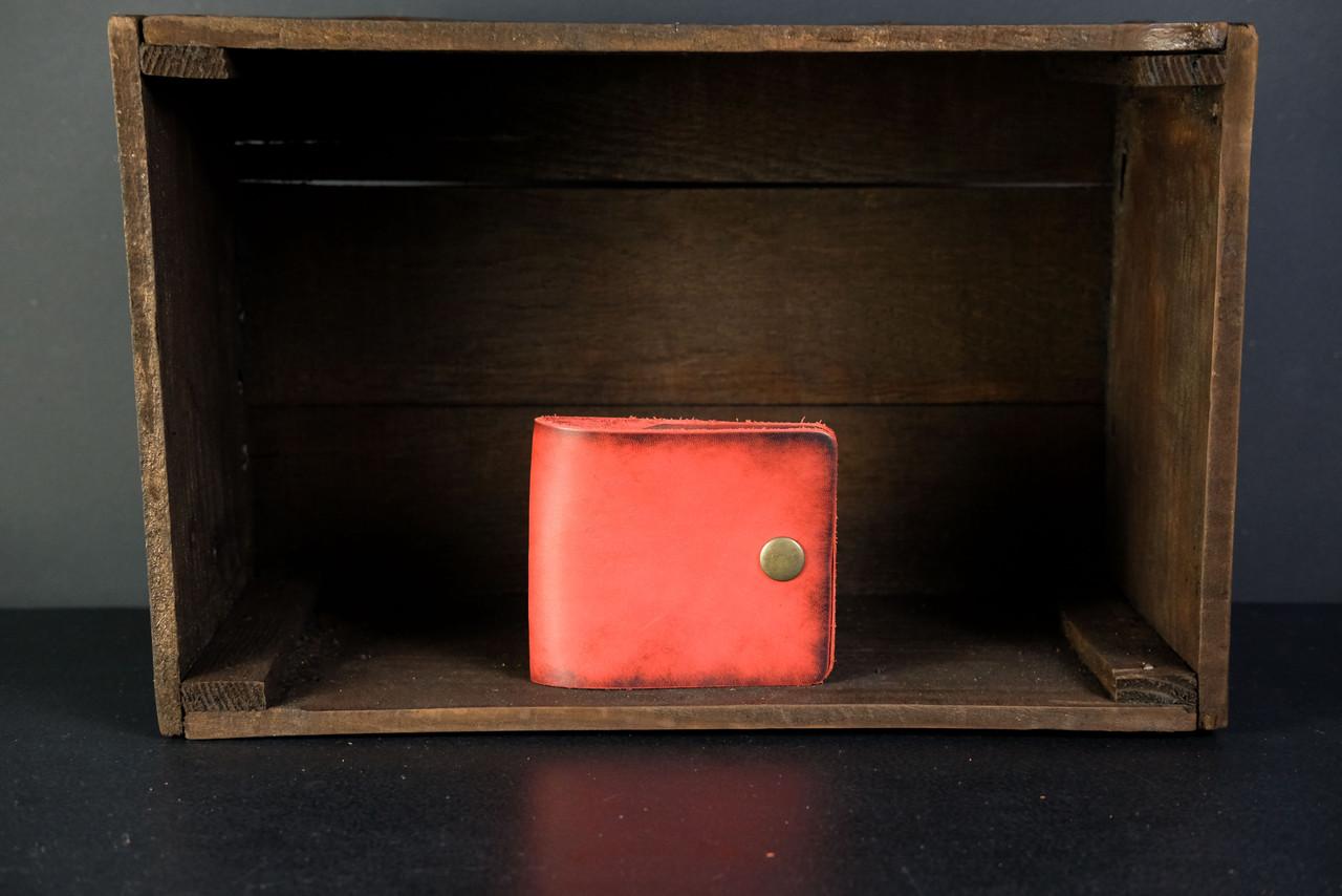 Кожаный кошелек портмоне Жорик Кожа Итальянский краст цвет Красный