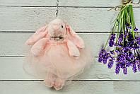 Брелок пушистый Кролик в пышном платье розовый, 26 см