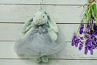 Брелок пушистый Кролик в пышном платье серый, 26 см